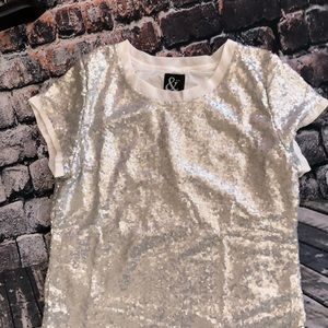 🌷Ampersand ave size s sequin top EUC